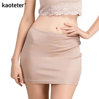 100 Pure Knit Silk High Quality Women Half Slips Simple Thin Sexy Elastic Waist Slim Underwear