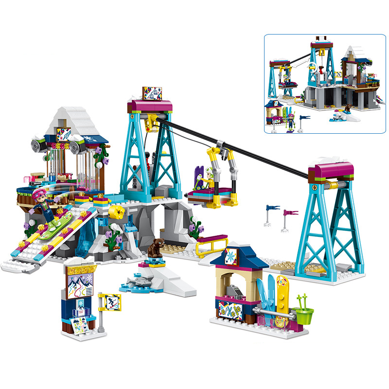 632PCS Ski resort lift cable car Compatible friends For city Girls DIY figures Bricks Educational Toys