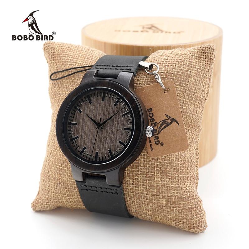 BOBO BIRD Men's Ebony Wood Watches Timepiece Genuine Leather Quartz Watch for Men Wrist Watch