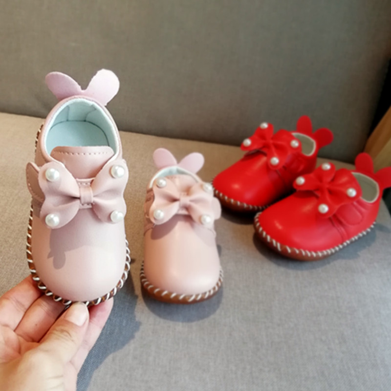 Pearl Girls Princess Shoes Spring And Autumn Baby Leather Shoes Diamond Toddler Soft Bottom Shoes