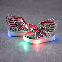 Kids shoes with light 2017 New Children Lighted Shoes Boys Girls LED Flashing Shoes Kids Fashion Sneakers With Wings size 21~30