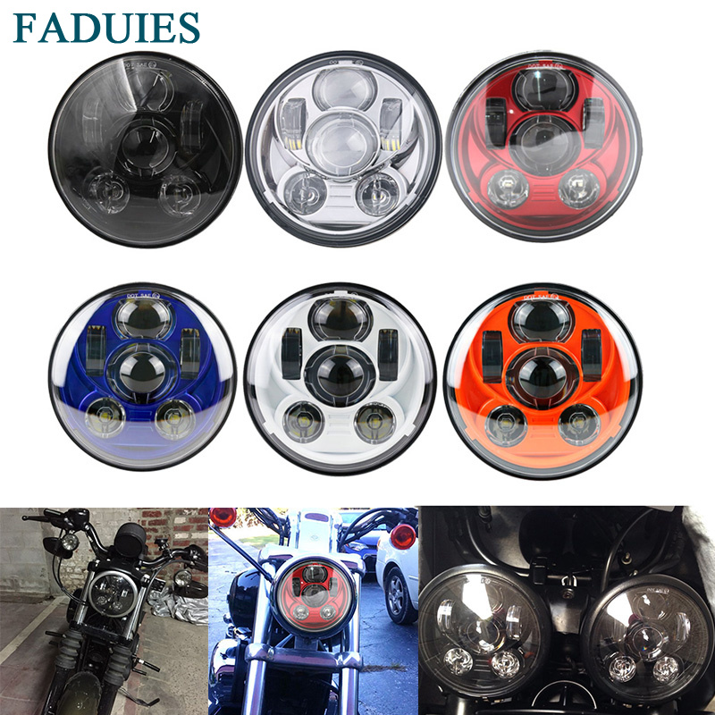 FADUIES Motorcycle Accessories 5 3/4 Led headlight 5.75 LED Headlamp For Harley Sportster 1200 XL1200L 883 XL883 883L XL883R black headlight grill cover for harley sportster xl883 1200 04 up softail cover headlight covers 5 3 4