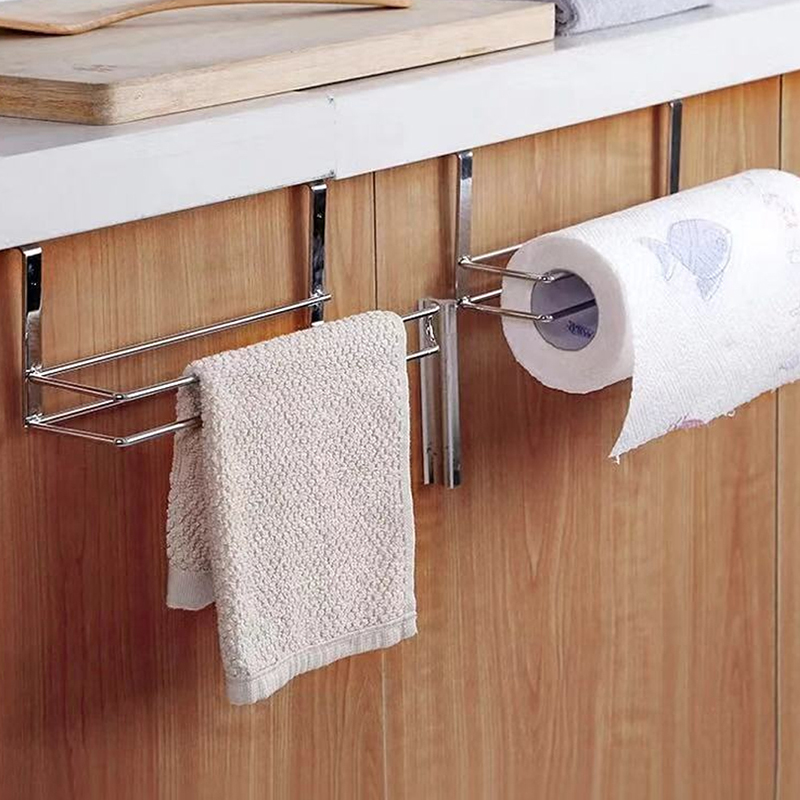 2019 1 Pcs New Home Kitchen Cabinet Door Hook Bathroom Toilet  Roll Holder Under Cabinet Stainless Steel Toilet Paper Towel Rack