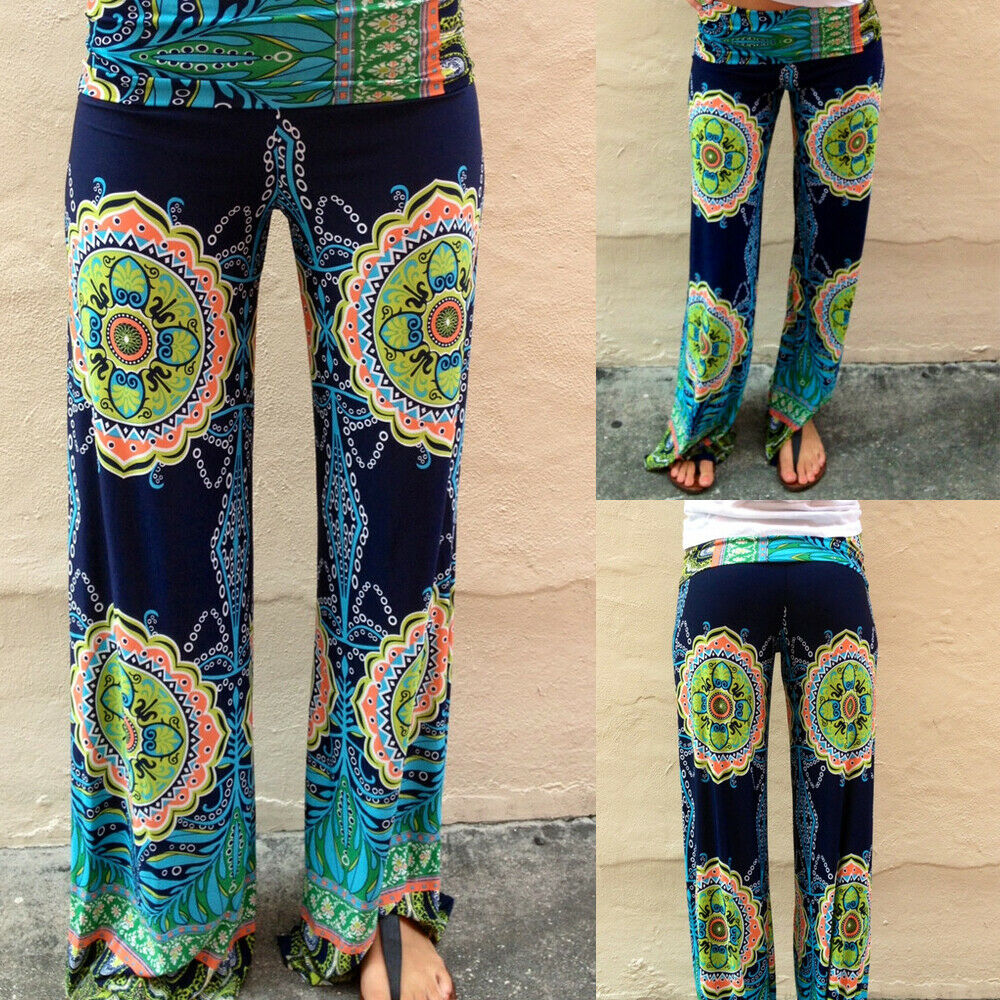 Image 2 - New Arrival Women Boho Loose Wide Leg Pants Print Beach Casual High Waist Summer Trousers Beach wear Long Pants Dropshipping-in Pants & Capris from Women's Clothing