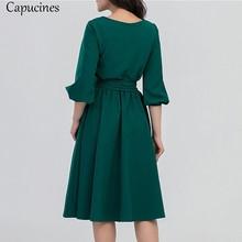 2018 Summer Vintage Soild Lantern Sleeve A-Line Dress Women Elegant O-Neck Half Sleeve Pocket Sashes Knee-Length Casual Dress
