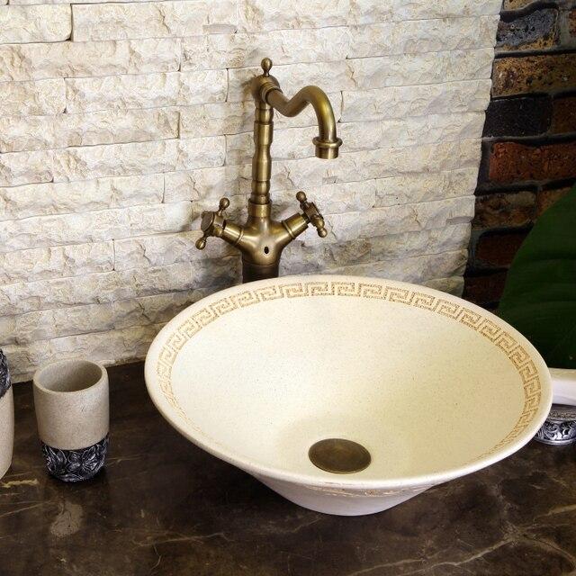china stone painting art bathroom vessel sinks round counter top wash basin - Bathroom Vessel Sinks
