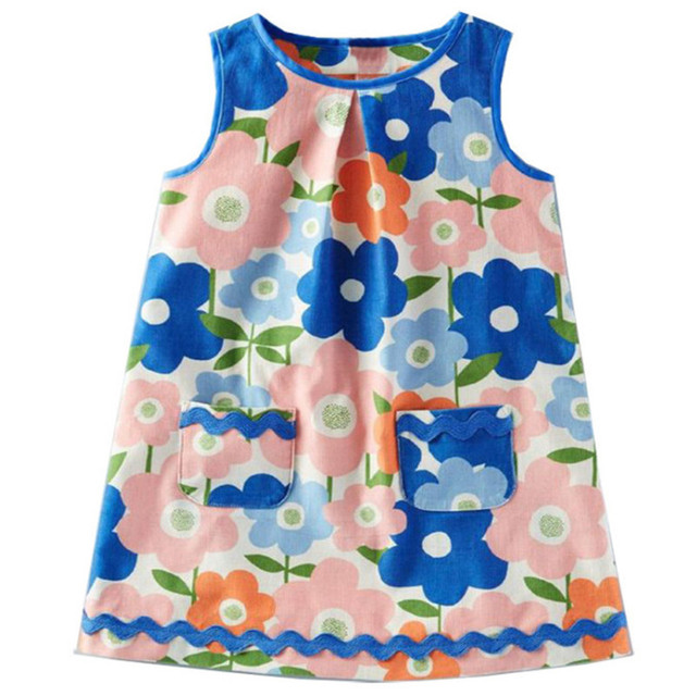 45abe1ea28c3c US $7.43 45% OFF|Hot selling top brand Dresses baby girls cotton clothing  summer sleeveless floral new designs child clothes 2 7T kids girl frock-in  ...