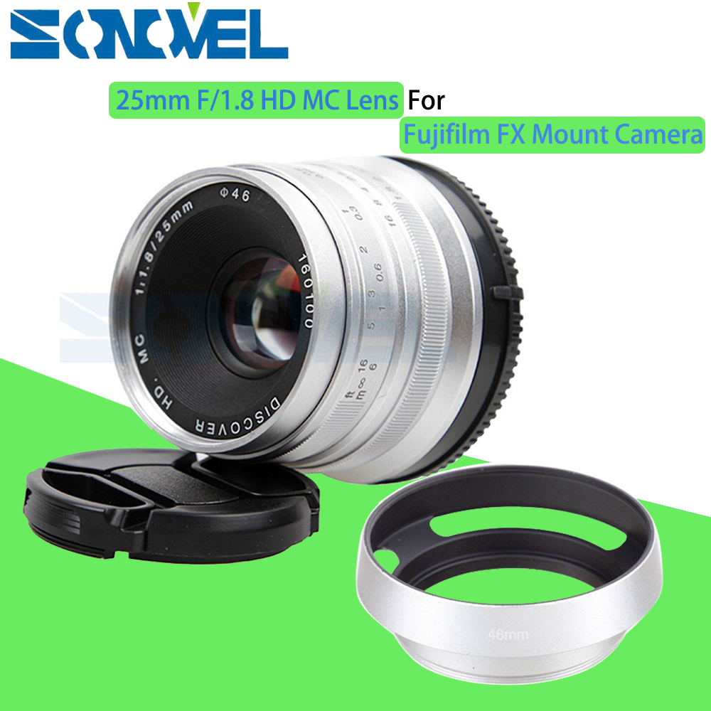 Silver 25mm F/1.8 HD MC Manual Focus Wide Angle Lens+Hood for Fujifilm FX X-T10 X-T2 X-T1 X-A2 X-A3 X-PRO2 X-PRO1 X-E2 X-E1 X-M1 x