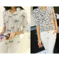 2016 Womens Letters Print Pattern Casual Three Quarter Sleeve Shirt Female Chiffon  Blusa Special Offer Women Blouses Tops
