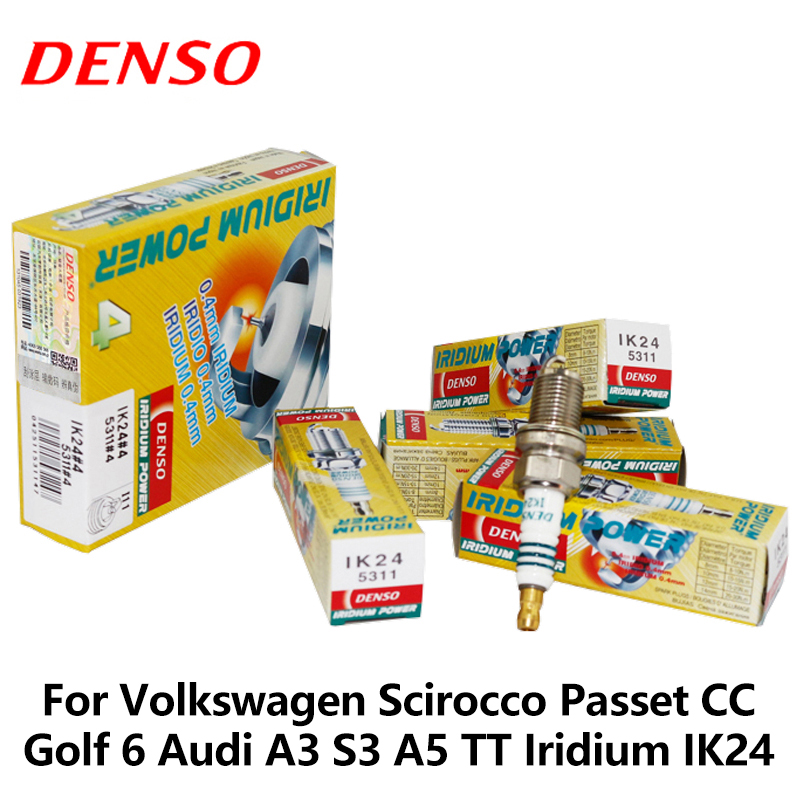 4 unids/set DENSO coche bujías para Volkswagen Scirocco Passet 1,8 T 2,0 T CC Golf 6 Audi A3 S3 A5 TT Iridium IK24