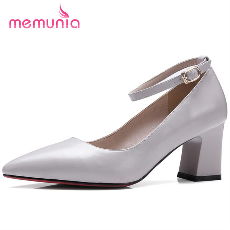 ФОТО MEMUNIA High heels shoes shallow single party genuine leather shoes solid women pumps pointed toe contracted four seasons
