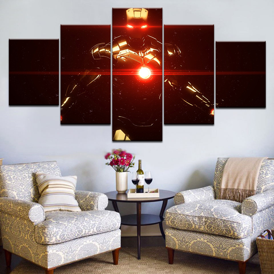 Wall Art Painting For Home Decorations HD Printed Canvas Poster 5 Pieces Superhero Movie Iron Man Modular Pictures Frame Artwork