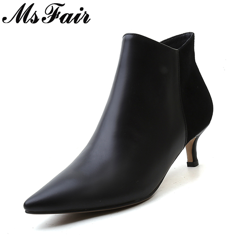 MSFAIR Pointed Toe Thin Heels Women Boots Casual Fashion Zipper Ankle Boots Women Shoes Concise Med Heel Ankle Boots Shoes Woman msfair pointed toe super high heel women boots fashion zipper ankle boots women shoes elegant thin heels black khaki boots shoes