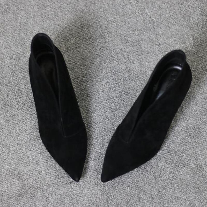 Bouche 2018 Pompes Talons En À Cuir Petite V Hauts De Mode Taille red Chaussures Pointu Bout Apricot Noir Printemps Femmes Mat Mince black IFXFgxwq6