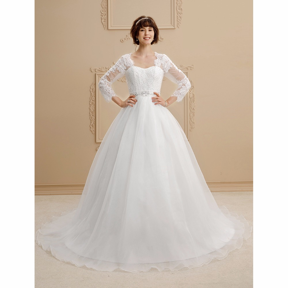 LAN TING BRIDE Ball Gown Wedding Dress Queen Anne Chapel Train Lace Organza Bridal Gown with Beading Sashes/ Ribbons