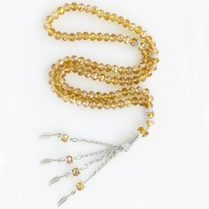 Image 5 - Islamic Crystal Prayer Beads Muslim Necklace Red Beaed 6MM 99PCS Beading Glass Collar Pendant Bracelet Rosary