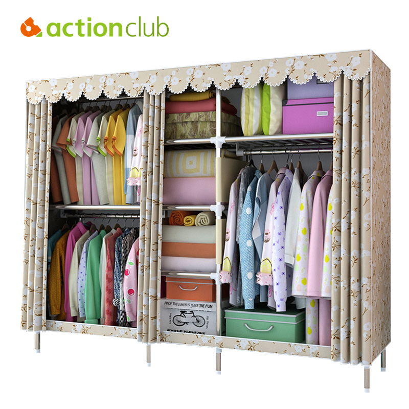Actionclub Large Cloth Wardrobe Clothing Hanging Storage Cabinet Fabric Closet 25 MM Steel Pipe Metal Reinforcement Cabinet