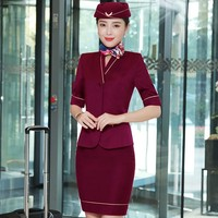 2019 New Styles Women Formal Business Suits With Jackets + Skirt + Scarf for Ladies Air Stewardess OL Blazers Spring Summer