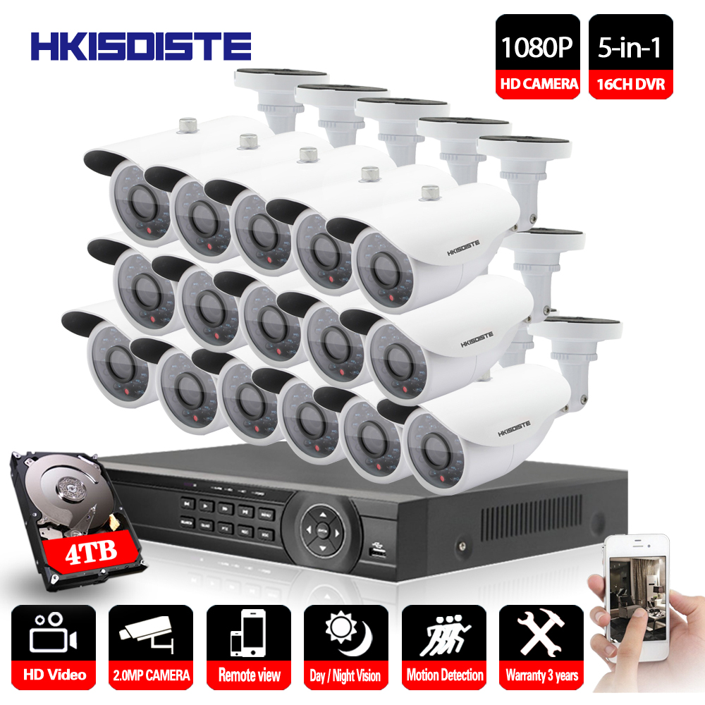 16CH 1080P AHD DVR 2.0MP Camera Security Surveillance CCTV System Outdoor Waterproof Night Vision HD Kit 16 channel ahd Camera full hd 16 channel 1080p ahd dvr kit 16pcs video surveillance security outdoor indoor 720p camera 1 0mp camera 16ch cctv system