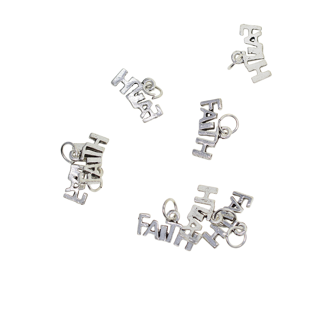 50Pcs Letter FAITH Charms W Split Rings DIY Pendants Necklace Jewelry Crafts