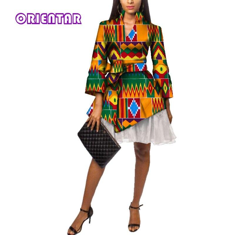 Fashion African Dresses Women African Wax Print Bazin Riche Long Sleeve Office Short Dress with Yarn African Clothing WY3525 short dresses office wear