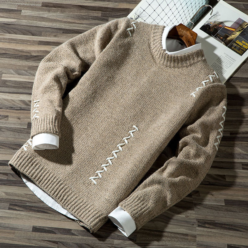 Autumn Winter Long-sleeved Men Thicken Warm Sweater Men's Round Collar Solid Color
