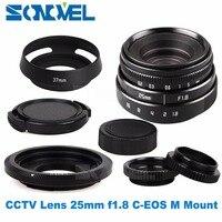 25 mét F1.8 APS-C Truyền Hình TV Lens CCTV Lens C gắn kết + Lens hood cho Canon EOS M M3 M2 M5 M6 M10 Không Gương Lật Máy Ảnh