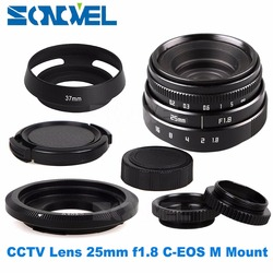 25mm F1.8 APS-C Television TV Lens CCTV Lens C mount + Lens hood for Canon EOS M M2 M3 M5 M6 M10 Mirrorless Camera
