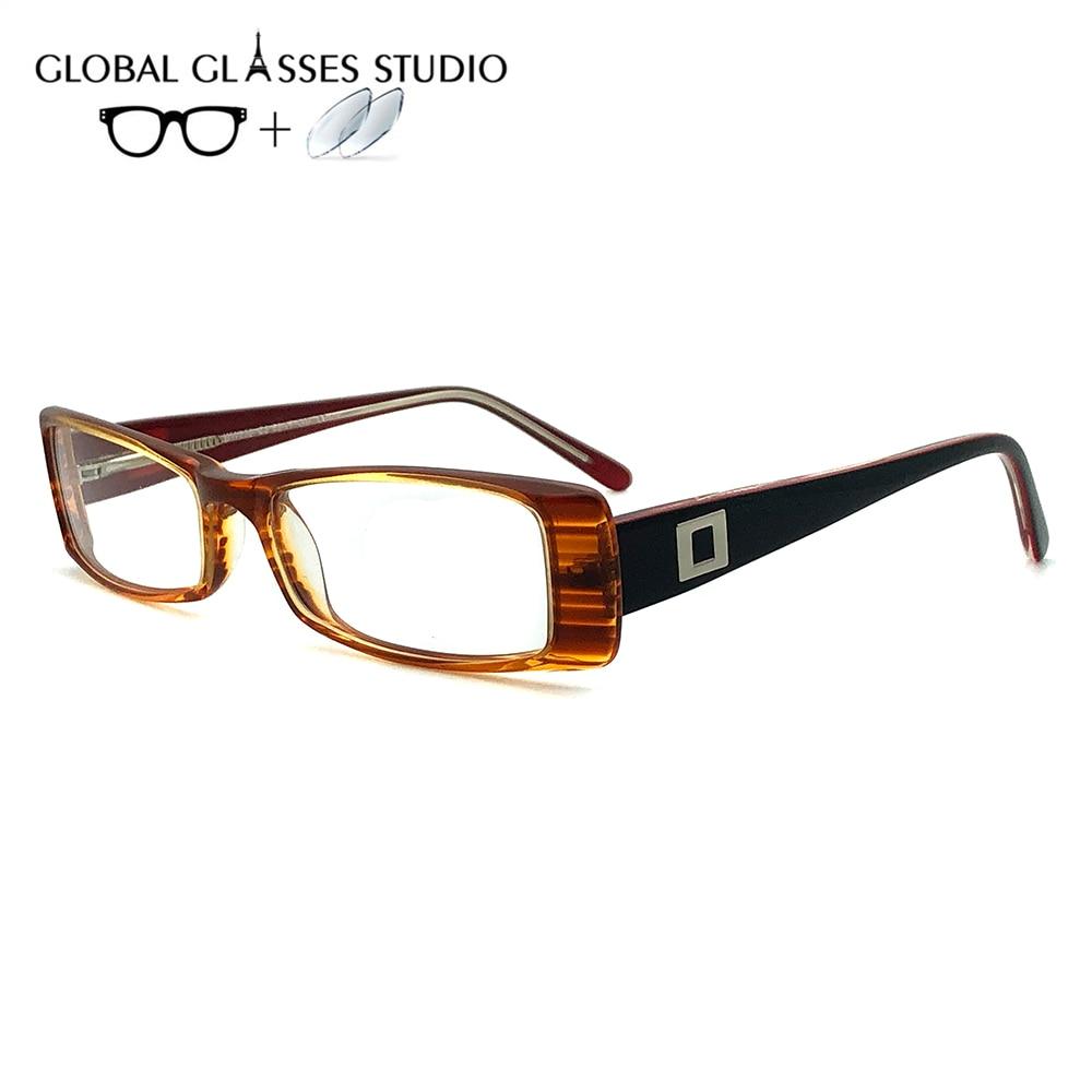 Для женщин ацетатная оправа для очков очки для чтения от близорукости, по рецепту Объектив 1,56 индекс WW802 C3