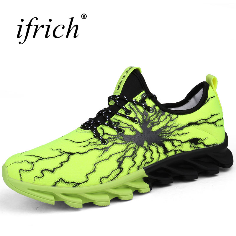 2017 New Sneakers Men Autumn Winter Popular Sneakers Men Lace Up Male Sport Shoes Training Blcak Green Track Running Shoes