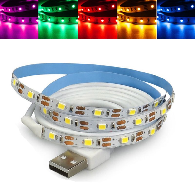 Smuxi 0.5M 1M 2M DC 5V RGB Flexible USB LED Strip Light 3528 SMD Sting Ribbon Adhesive Tape TV Background Lighting