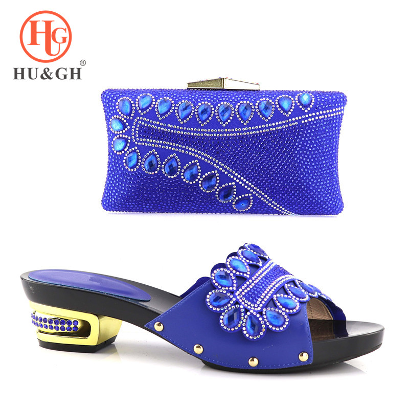 New Blue Arrival African Shoes And Bag Set Italy High Heels Italian Design Shoes With Matching Bag For party Nigerian lady shoe black color women high heels pumps african shoes and matching bags italian italy shoe and bag set to match for party 66077