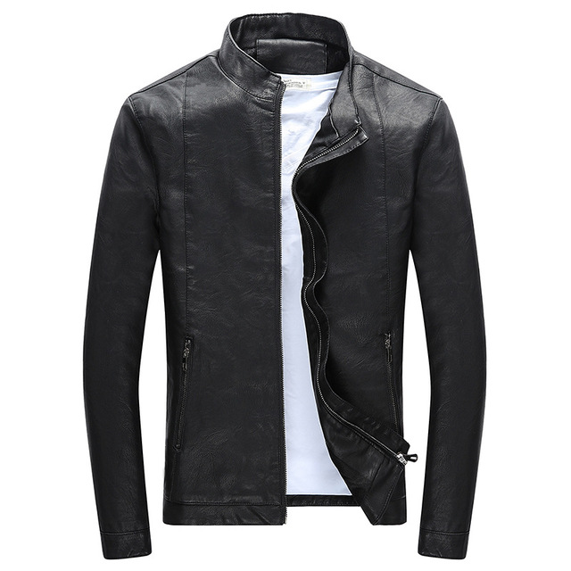 42e4fbafd US $33.49 33% OFF|2018 Spring New Fashion Slim Jacket Leather Men Good  Quality Stand Collar Casaco Masculino -in Faux Leather Coats from Men's ...