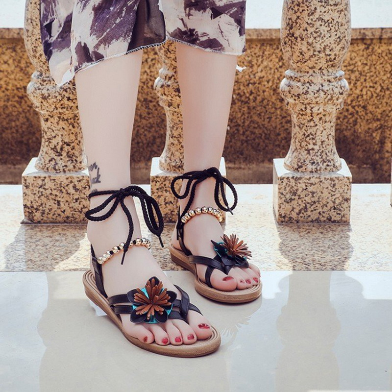 WENYUJH Thong Sandals Fashion Sandals Women Summer Shoes Female Flat Sandals Rome Style Bandage Floral Sandal Shoes remote control charging helicopter