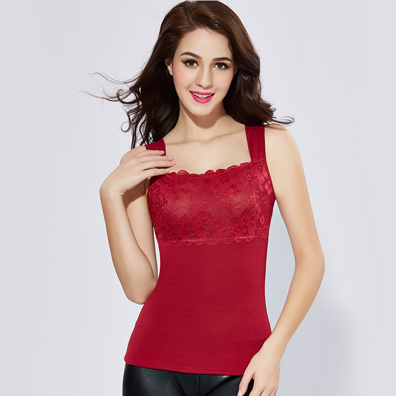 New Autumn Winter V-Neck Patchwork Lace Camisoles Warm Thick Sleeveless Vests Women Bottoming Shapewear Velvet Tank Tops Mw375