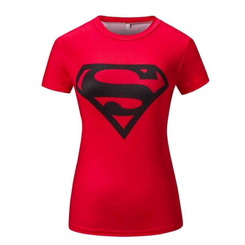 Female Crossfit Top Novelty Design 3D Printed Superman Lighting Fitness Brand Crossfit Tight Summer Short Sleeve Tees Tops Cloth