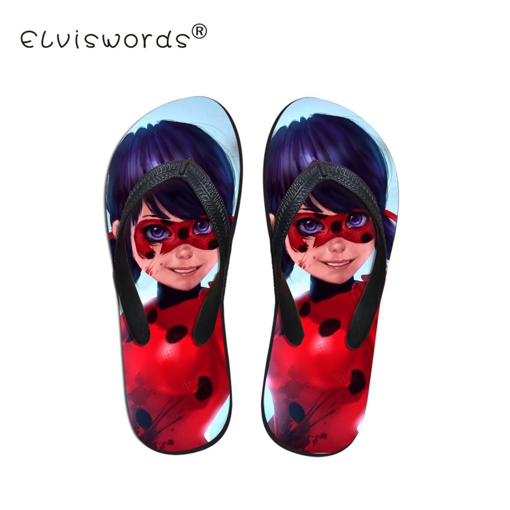 ELVISWORD Miraculous Ladybug Printing Slippers Women Non-slip Flip Flops for Teenagers Girls Cartoon Pattern Home Slipper Summer leisure platform and cartoon pattern design slippers for women