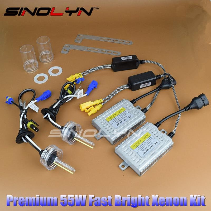 DLT HID Xenon Ignition Unit Fast Bright Quick Start Ballast Reactor Blocks AC Conversion Kit 12V 55W Lamps H7 H1 6500K Bulbs
