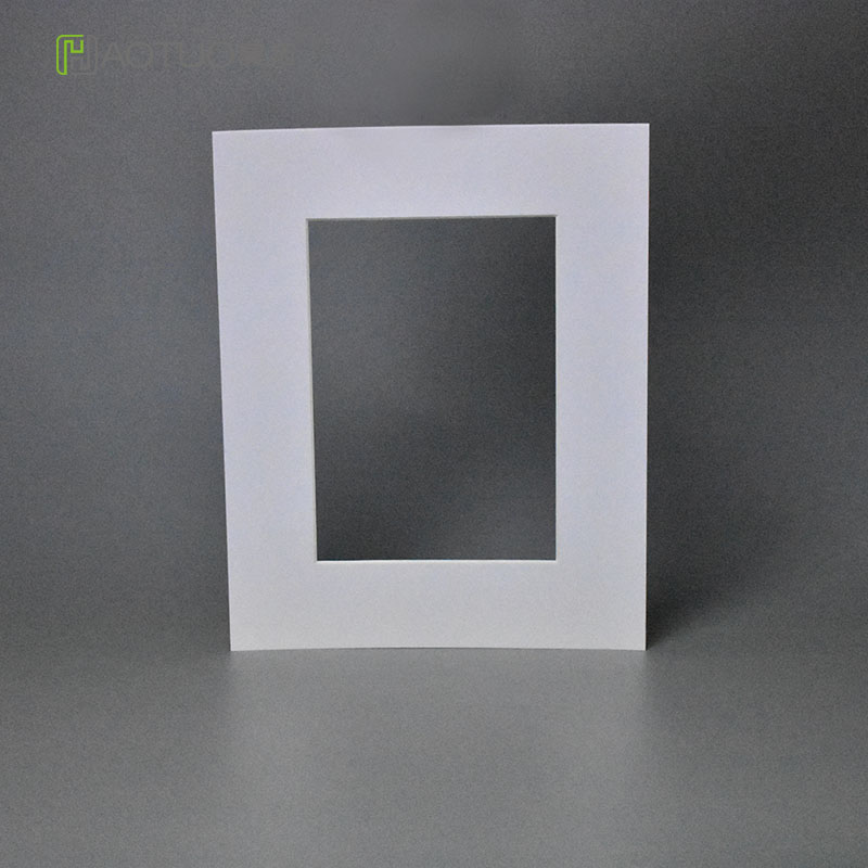 White Photo Mats 45 Degree Bevel Cut Cardboard Frame For