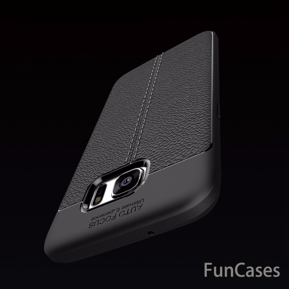 Soft TPU Leather Carbon Fiber Cover for Samsung Galaxy S7 edge Case Anti-Knock Shockproof Armor Case Cover Ultra Slim Luxury