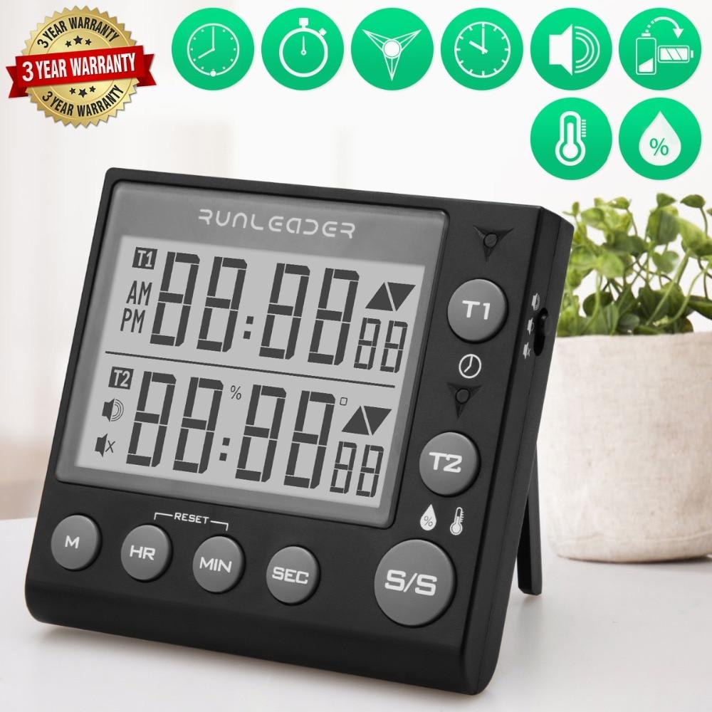 Minuterie de Cuisine numérique minuterie magnétique minuterie de cuisson grand écran et gros caractères avec Thermohygromètre double canal minuterie de cuisine