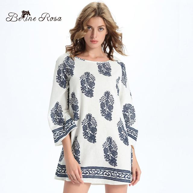 2016 nueva otoño mujeres clothing inglaterra estilo elegante profunda impresión de tres cuartos de las mujeres tops sueltos para las mujeres (belinerosa yhm036)