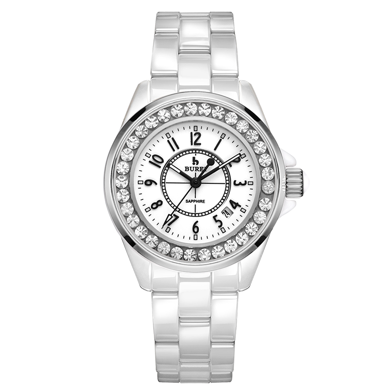 BUREI 8003 Switzerland watch women luxury brand J12 series calendar Ceramic diamond fashion sapphire silver relogio feminino цена