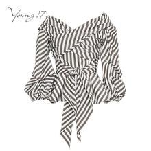 Young17 осень 2017 Лето полосатый топ с v-образным вырезом длинный рукав фонарик lave до пояса коричневый пикантные женские вечерние блузка на молнии женские топ