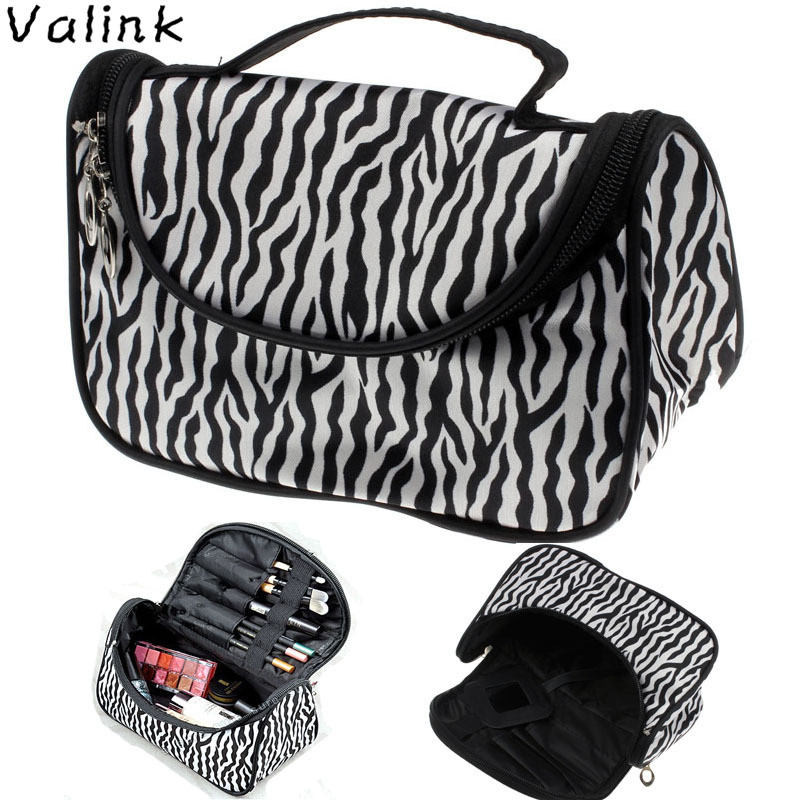 Valink 2017 Cosmetic Bag Large Capacity Women Makeup Bags Zebra Print Storage Travel Bags Organizador Trousse Maquillage Femme