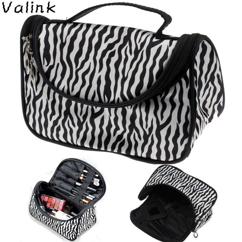 Valink 2018 Cosmetic Bag Large Capacity Women Makeup Bags Zebra Print Storage Travel Bags Organizador Trousse Maquillage Femme