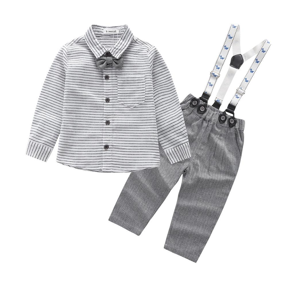 Fashion Boys Gentleman Suits 1 2 3 Years Childrens Clothing Set Striped Blouses Overalls 2pcs Kids Clothes for Party autumn boys gentleman clothing sets baby boy clothes suit shirts overalls jeans kids jumpsuit 2pcs set for 2 3 4 5 6 7 years