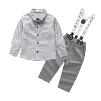 Fashion Boys Gentleman Suits 1 2 3 Years Childrens Clothing Set Striped Blouses Overalls 2pcs Kids