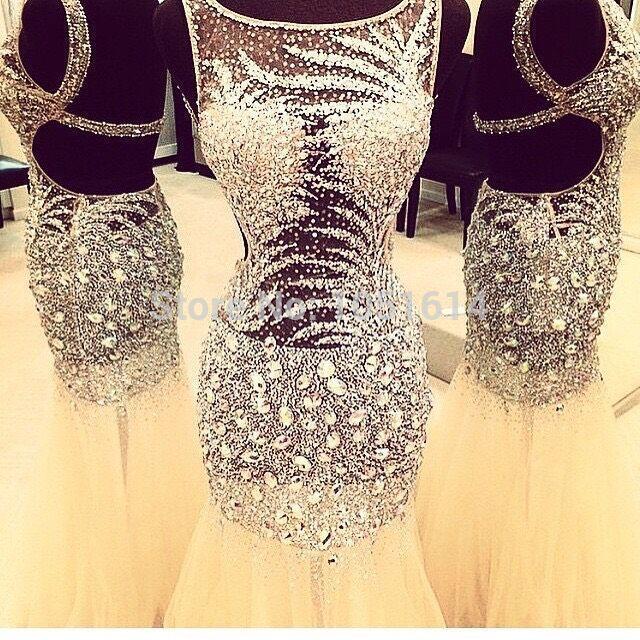 Véritable échantillon de luxe dos ouvert Champagne sirène robe de bal 2019 argent perlé paillettes cristaux longues robes de soirée