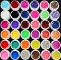 Nuevo 36 Color de Glittery UV GEL Transparente Sólido Puro Constructor Nail ART kit de herramientas